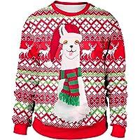 Women Men Ugly Christmas Sweaters, S.Charma Unisex Novelty 3D Reindeer Printed Sweatshirt Pullover