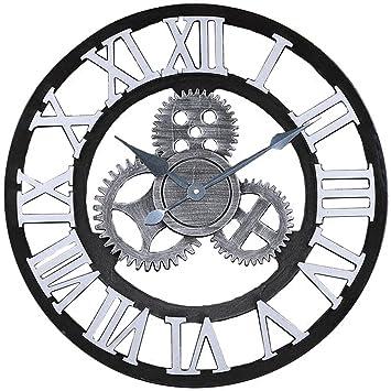 C-Cakus Vintage Reloj de Pared diseño de Madera Relojes de Pared Rueda Dentada Pared Adhesivo Silencioso Cocina Reloj de Pared Decoración para Salón ...