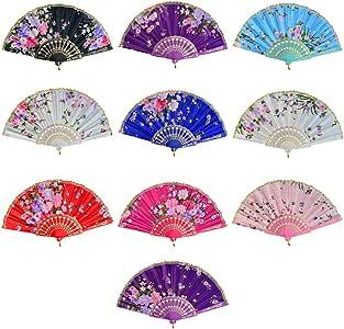 Miayon 10pcs Floral Folding Hand Fan Vintage Retro Silk Handheld Fans Lace Folding Fan Wedding Dancing Church Party Gifts (Random Color)