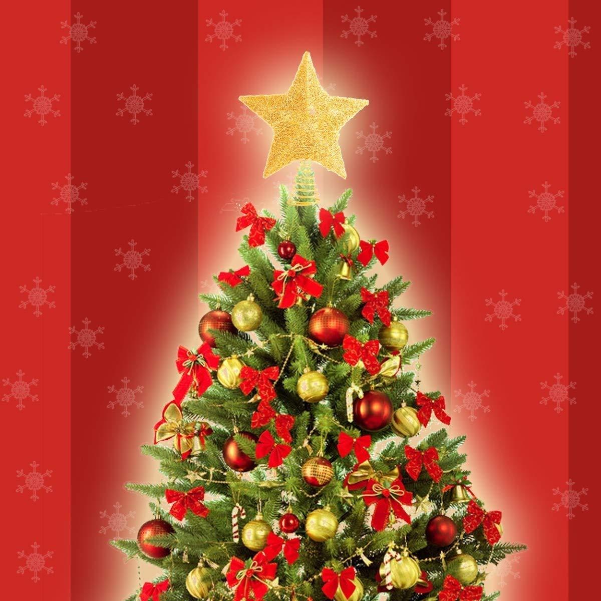 Decorazione Luminosa Trasparente BESE Puntale per Albero di Natale a Forma di Stella 25,4 cm Ornamenti Luccicanti Dorati