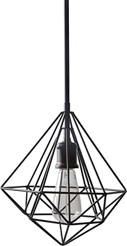 Amazon Brand Rivet Modern Industrial Geometric Cage Pendant Chandelier Fixture With Light Bulb – 10.5 x 10.5 Inch, 14.75-62.75 Inch Cord, Black
