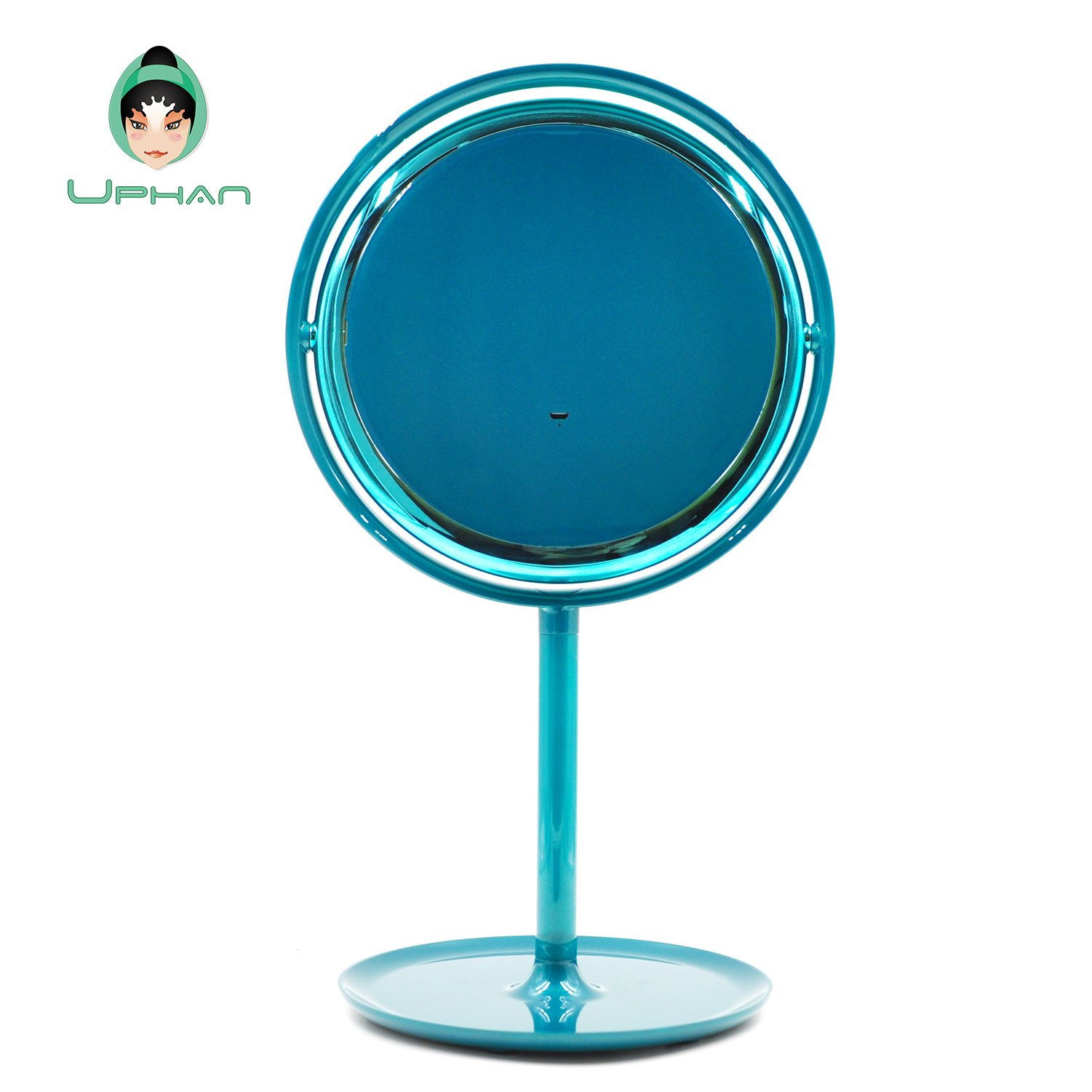 UPHAN U7 Surgical Grade Lighted Makeup Mirrors, 7 inch Luxury Dual Light Color Dimming Light with 5X Detail Mirror, Malachite green ¡­ (Surgical Grade) by UPHAN (Image #5)
