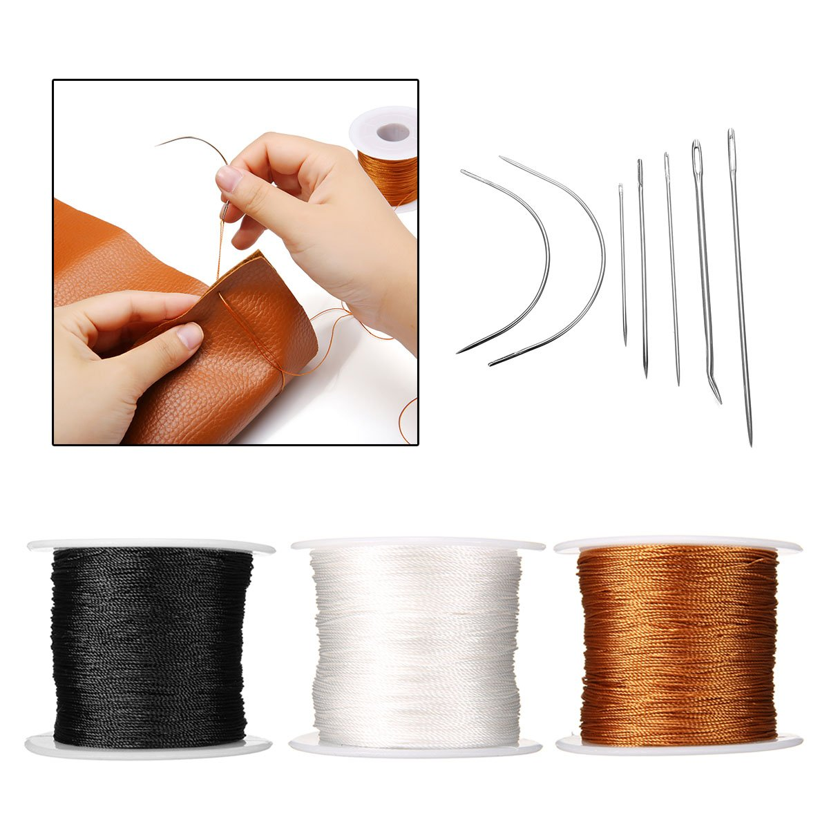 KING DO WAY 3PCS 150yard Upholstery Repair Thread Kit Sewing Needles Carpet Leather Canvas Repair 1 Naturel Spool+1 Black Spool+1 Leather color Spool with a Set of Heavy Duty Assorted Hand Needles