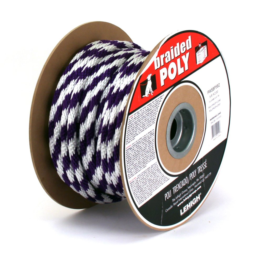 Lehigh PWSBP582 5/8-Inch by 200-Feet Polypropylene Solid Braided Multifilament Rope, Purple/White