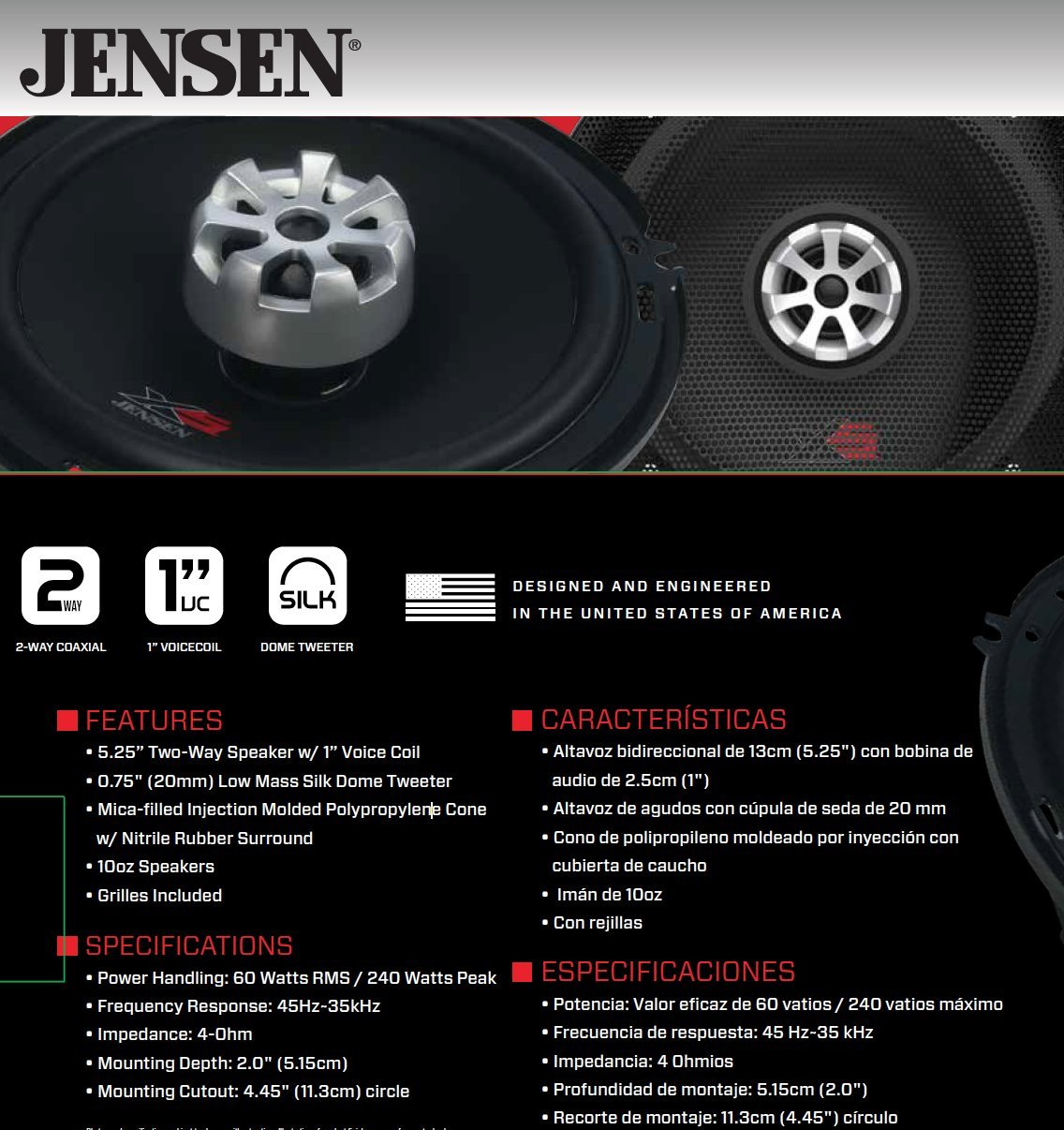 Jensen XS525 2-Way 5.25 inch High Performance Car Speakers with 240 Watt Peak Power and 1 inch Voice Coils with 20mm Silk Dome Tweeters