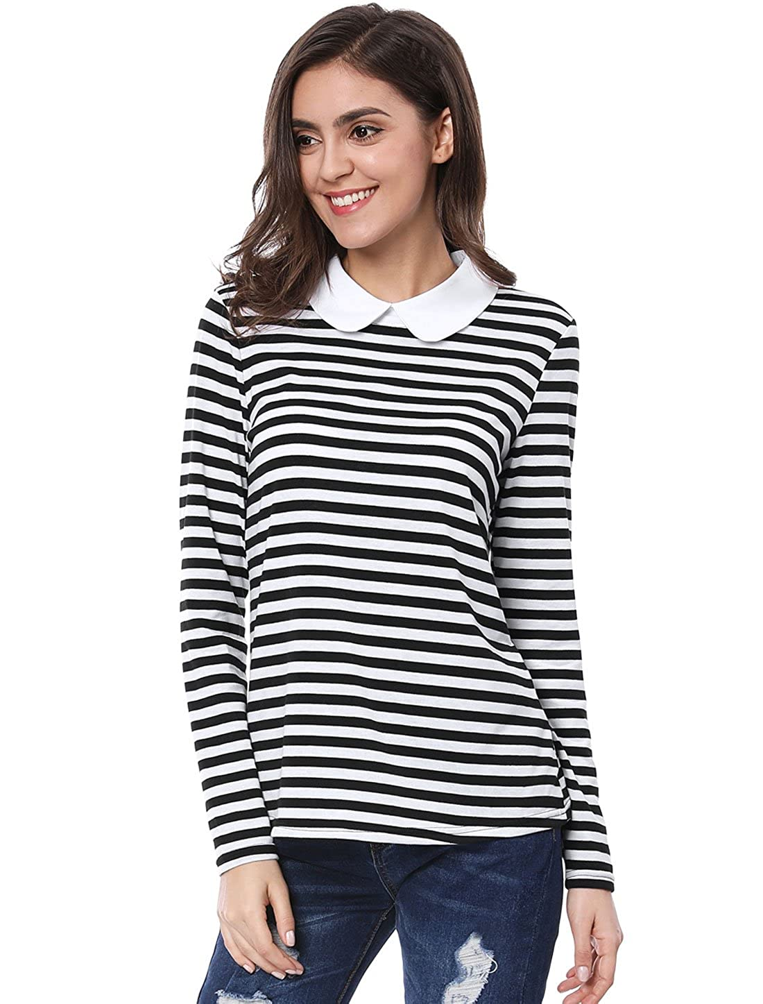 1d33db73f4a7e2 Allegra K Women's Long Sleeves Peter Pan Contrast Striped Blouse Top at Amazon  Women's Clothing store: