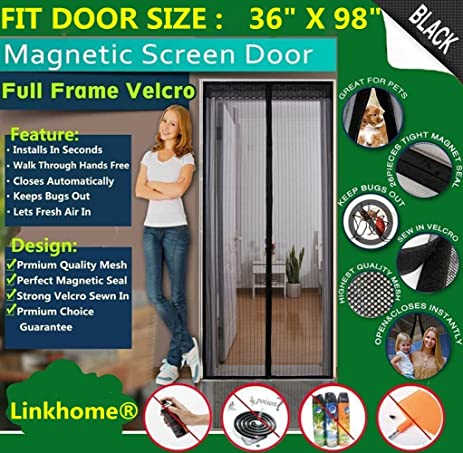 Linkhome 36w x 98h magnetic screen door for french doors linkhome 36quotw x 98quoth magnetic screen door for planetlyrics