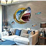 Kathson Removable 3d Cartoon Animation Fierce Shark Art Mural Vinyl Waterproof Wall Stickers