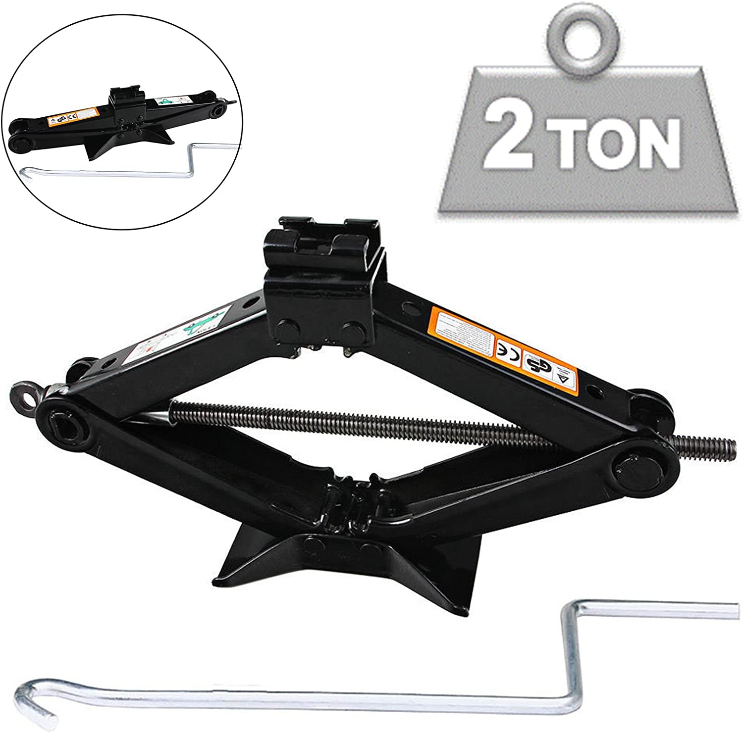 Universal RustProof 2 TON Tonne Car Van Scissor Jack Wind Up Lift with Chromed Crank Speed Handle 2 Yr Guarantee