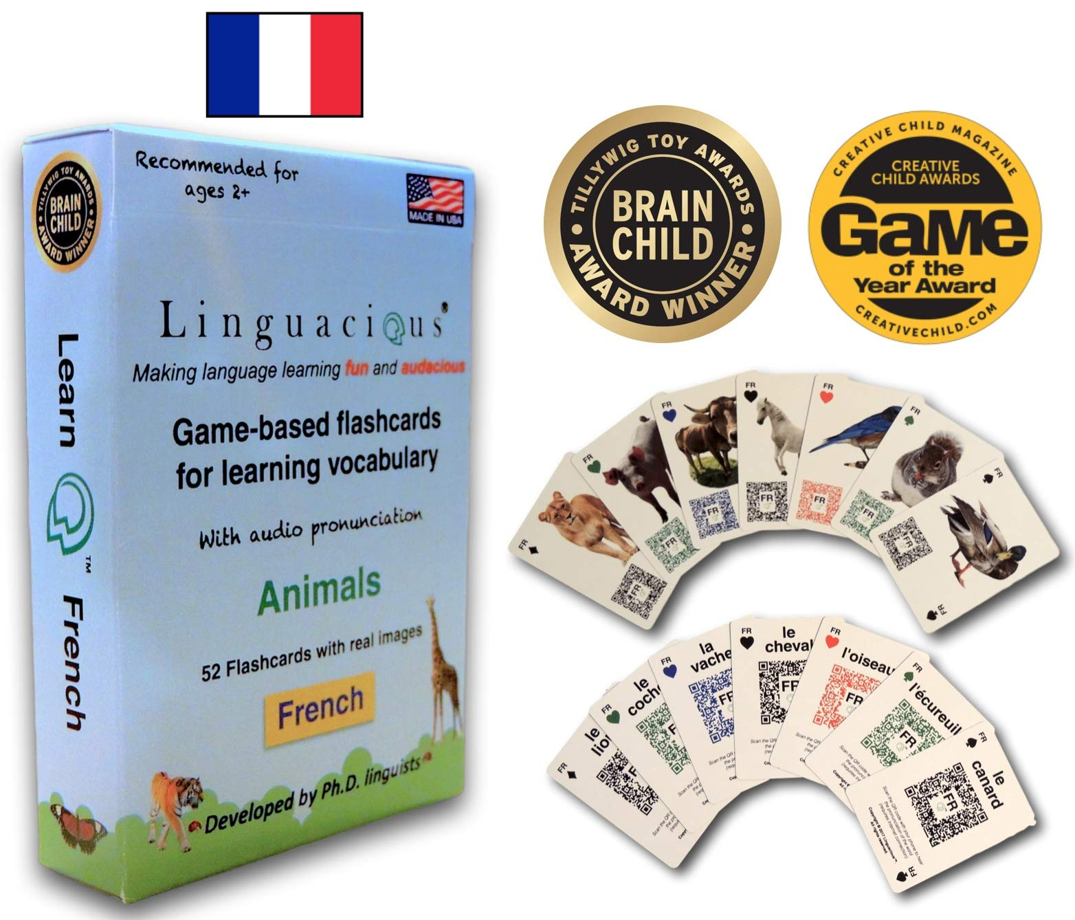 Linguacious Award-Winning French Animals Flashcard Game - The ONLY One with Audio!