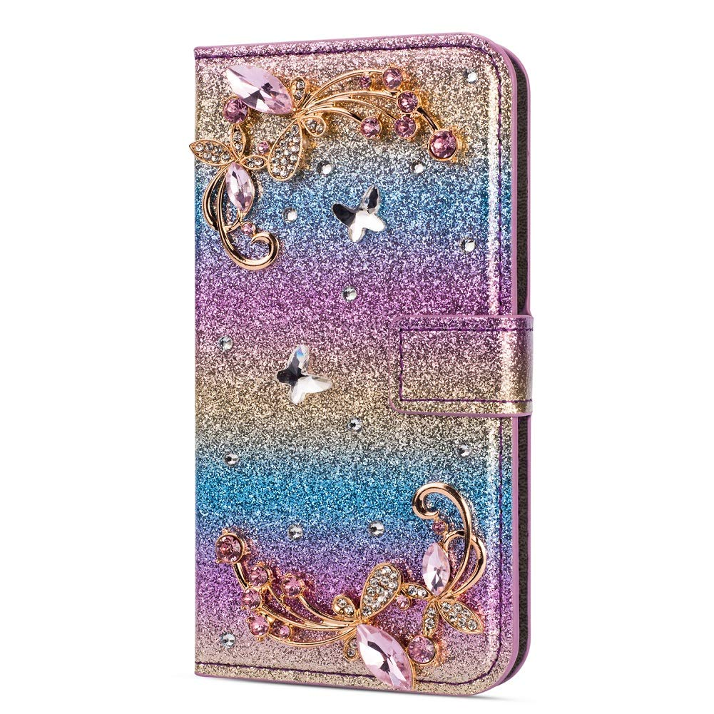 Amocase Glitter Case with 2 in 1 Stylus for Samsung Galaxy A6 2018,Luxury Diamond 3D Crystal Butterfly Flower Magnetic Wallet Leather Stand Case for Samsung Galaxy A6 2018 - Gradient Blue