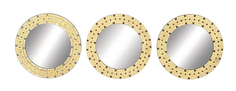 Amazon.com: Benzara 23994 3 Assorted Modish Wood Mosaic Mirror: Home ...