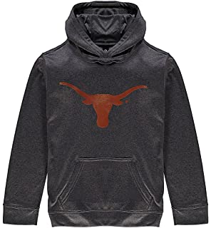 Texas Longhorns Mens Silhouette Basic Poly Performance Charcoal Long Sleeve Pullover Hooded Sweatshirt