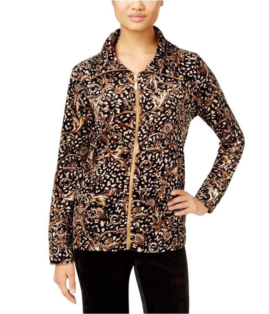 Karen Scott Womens Printed Velour Blazer Jacket Brown PS - Petite