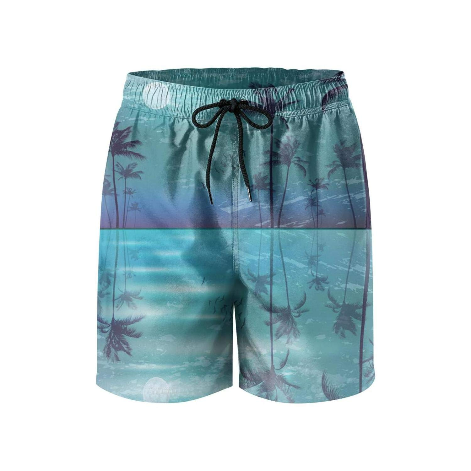 Palm Trees in Moonlight Mens Swim Trunks Quick Dry Holiday Mesh Lining Beach Board Shorts with Drawstring