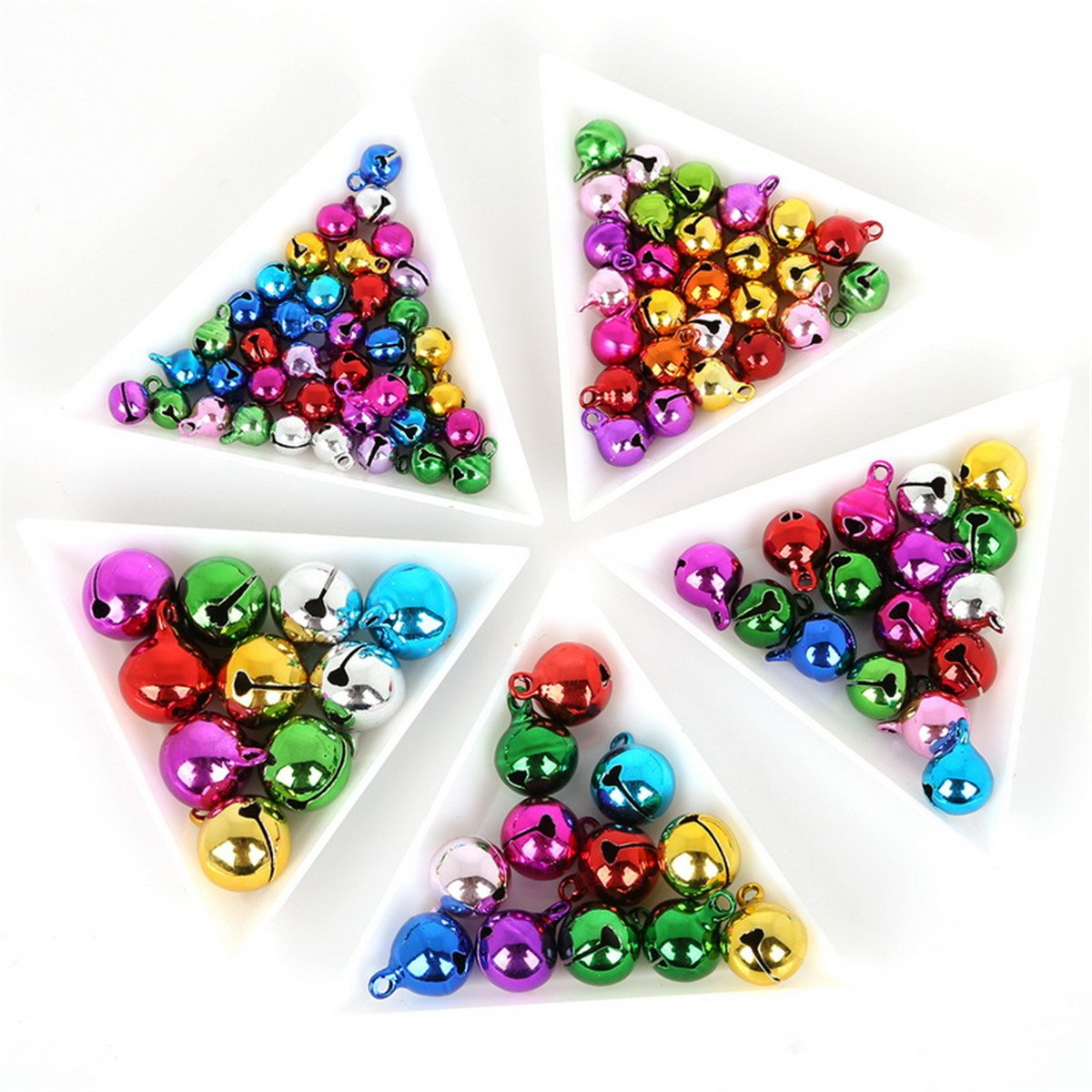 200pcs Mini Christmas Jingle Bells Bulk for DIY Craft Assorted Loose Beads Jewelry Charms Coloful Bells for Festival Wedding Decorations,8mm