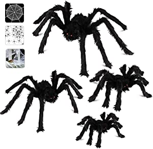 Halloween Spider Decorations, Aitey Halloween Scary Giant Spider Set with 4 Large Fake Spider, Spider Web, 20 Small Plastic Spiders, Cobwebs for Window Wall and Yard Outdoor Halloween Decor
