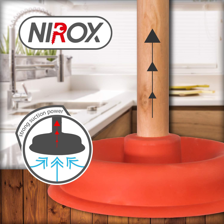 Stantuffo per WC di facile manutenzione Nirox 2x Sturalavandini a ventosa Sturascarichi con potente stantuffo in gomma Sturatore per toilette con forte potenza di aspirazione