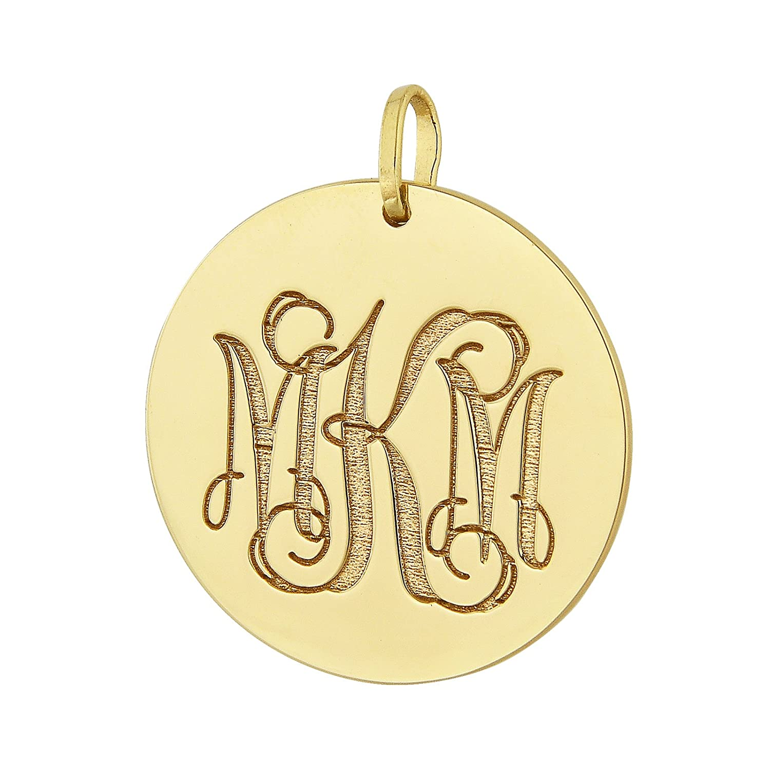 f989c26aff475a Amazon.com: Soul Jewelry 14K Solid White Gold 1 Inch isc 3 Initial Circle  Monogram Charm Pendant Necklace Deep Laser Engraved GC09 (White-Gold):  Jewelry