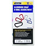 12 Pack Colored Anodized Aluminum Snap D-ring Set Sizes: 2 In., 2-3/8 In., 2-3/4 In., 3-1/8 In.