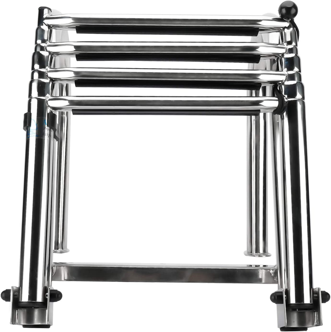 PetierWeit Premium 4 Steps Heavy Duty Stainless Folding Rear Entry Pontoon Boat Ladder with w//Extra Wide Step