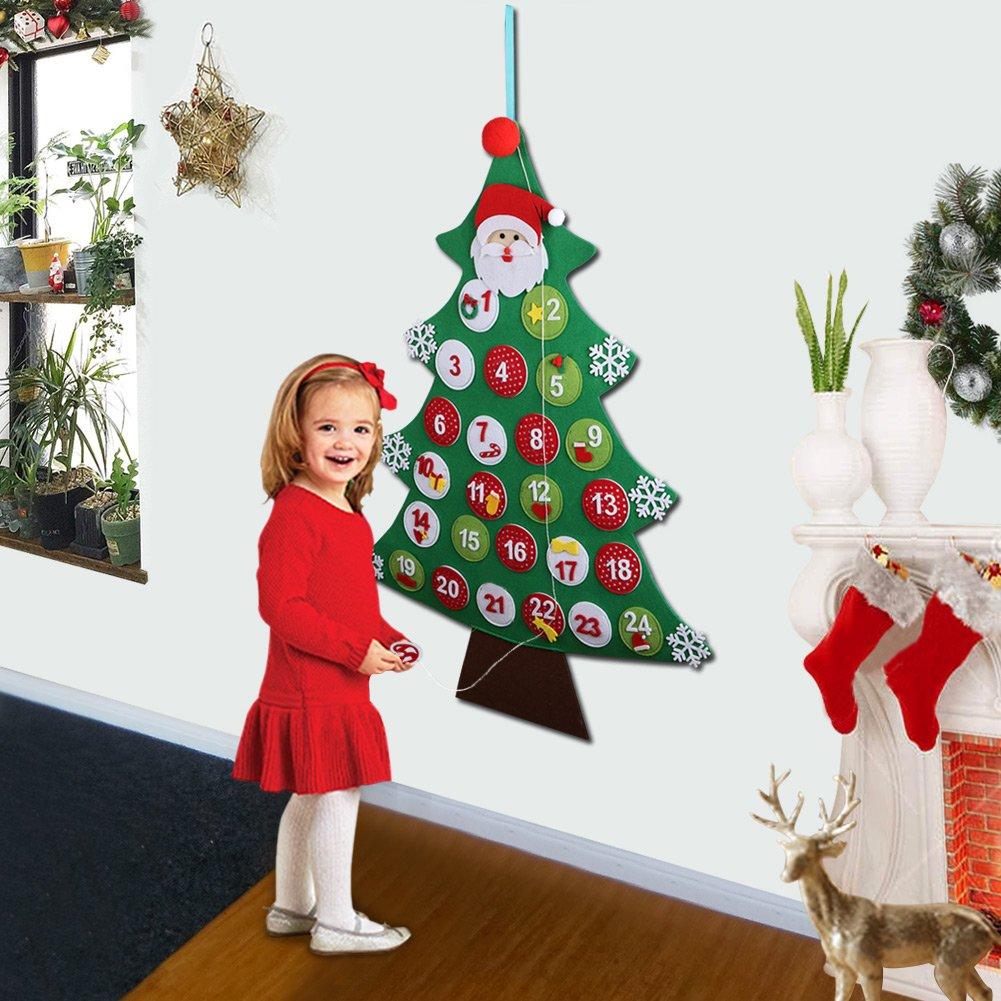 Aytai Felt Christmas Tree Advent Calendar, Wall Hanging Calendars Xmas Gift for Christmas Decorations