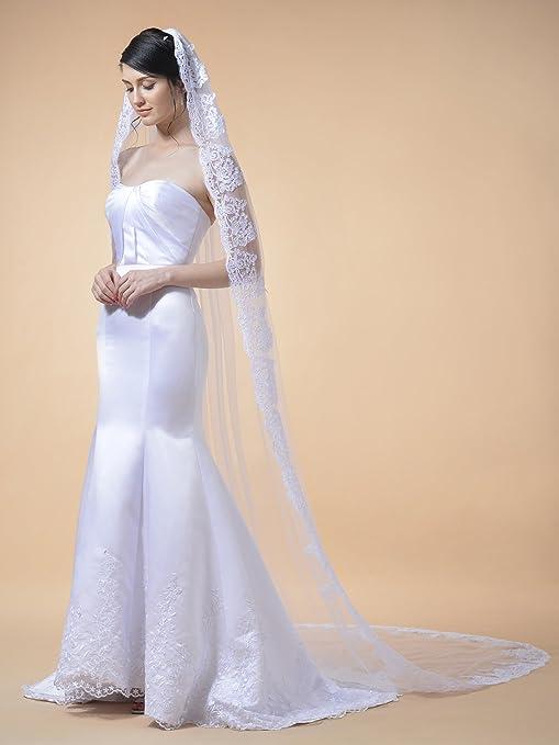 Remedios 1 Tier Cattedrale di matrimonio velo pizzo applique bordo smerlato  106 pollici per Birdal 4fe4c16bacd6