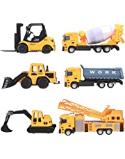 deAO Vehicles Playset - 6 Construction Trucks Include Forklift Mixer Loader Dumper Bulldozer Crane Made of Alloy and Plastic