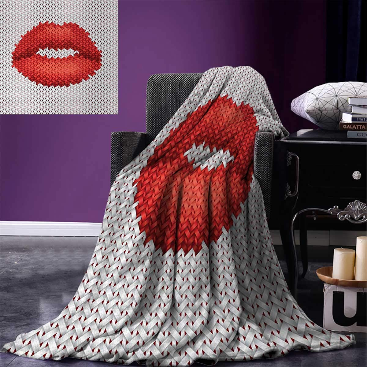 Teen Girls Digital Printing Blanket Lips Illustration Embroidery on Fabric Pattern Cosmetics Stylish Womanly Ornament Summer Quilt Comforter 80''x60'' Red Grey