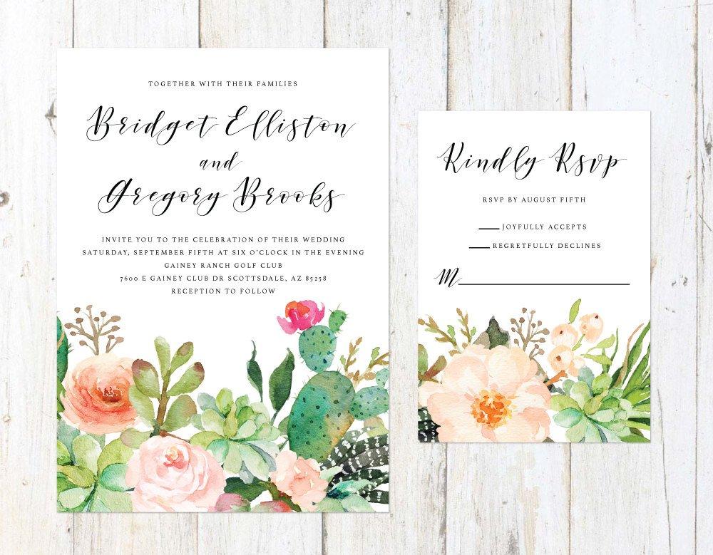 Succulent Wedding Invitation, Desert Cactus Invitation, Palm Springs Invitation, Arizona Wedding