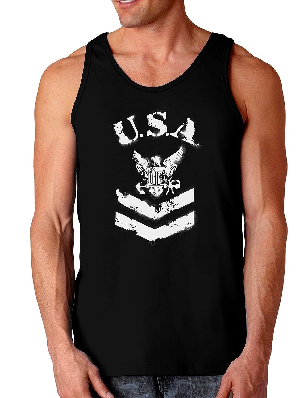 USA Military Navy Stencil Logo Dark Loose Tank Top