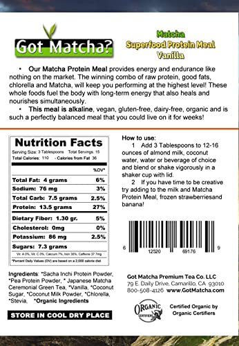 Matcha Superfood Protein Meal – with Sacha Inchi, Raw, Vegan, Organic, Low Glycemic, 14g Protein Serving – 500g Bulk Vanilla