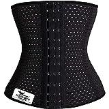 Grasshopr Women's Waist Slimming Corset 3 Hooks Girdle with Spiral Steel Bone