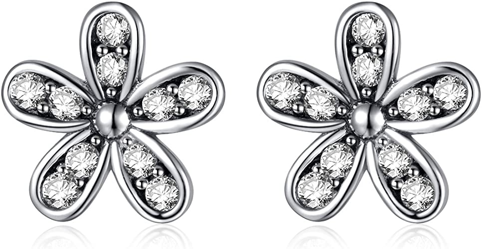 Daisy Flower CZ Crystal Zirconia Silver Gold Filled Women Lady Hoop Earrings BOX