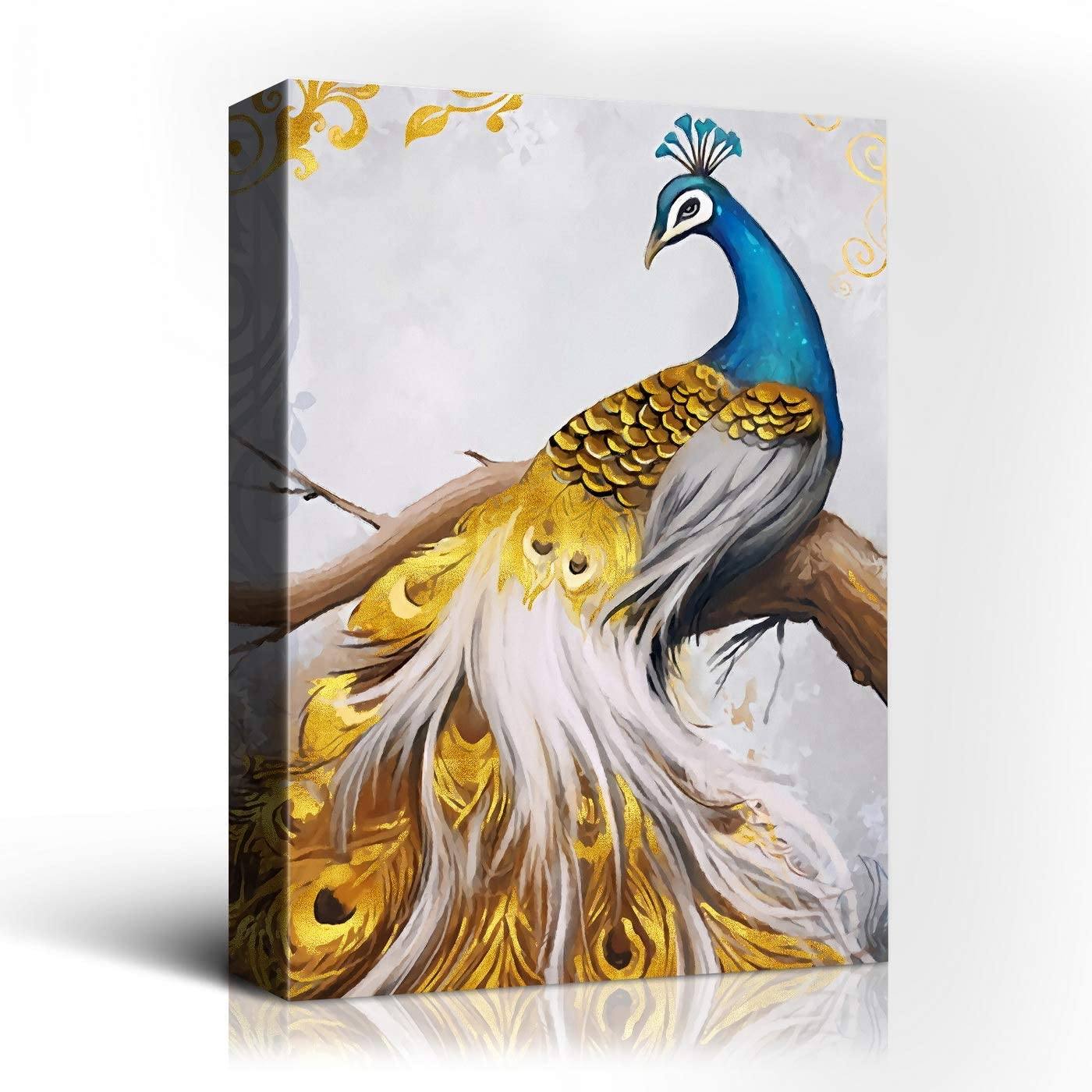 Laoife-20x30 Inches Blue Peacock and Golden Feather Tail Animals Artwork Giclee Print Canvas Wall Art Decor for Living Room,Bed Room,and Hotal