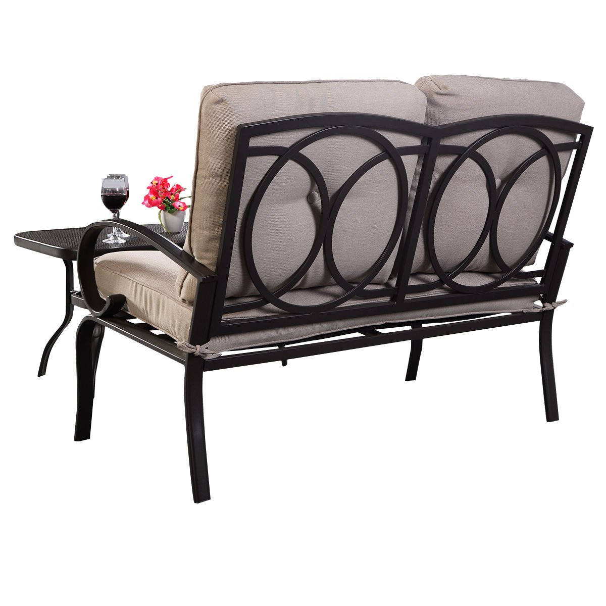 Giantex 2 Pcs Patio Outdoor LoveSeat Coffee Table Set Furniture Bench With Cushion by Giantex (Image #7)