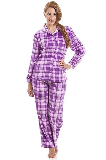 Pijama largo con cierre frontal abotonado - Franela - Estampado a cuadros - Morado y rosa: Amazon.es: Ropa y accesorios