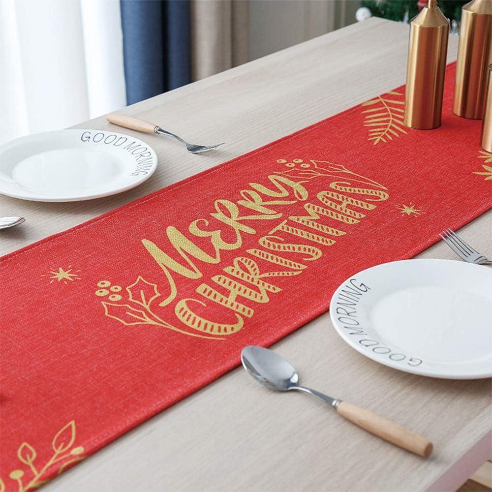 MJ-Brand Mantel con Bandera de Navidad - Ins Mesa de Centro con Forma de Bandera Cubierta del gabinete de TV Cubierta de Tela Toalla Hogar Ambiente Festivo Poliéster Oro Rojo-Palabra 30x240cm: Amazon.es: