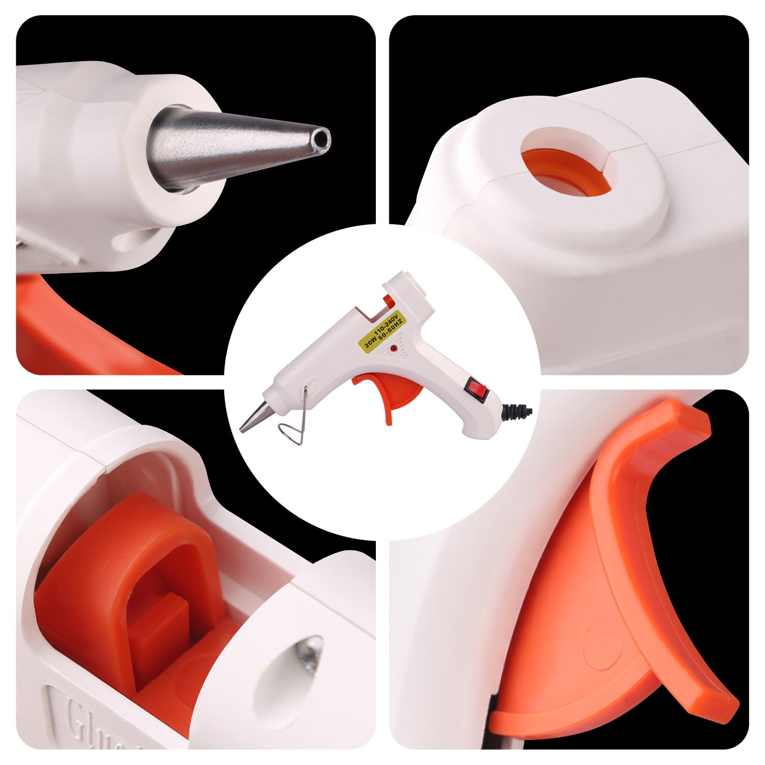 Hot Melt Glue gun with 30 pcs free glue sticks, High temperature melting glue gun with safety stand and built in fuse for over heat protection for small craft projects, home, office and quick repair by FLY5D (Image #6)