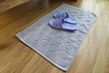 enjelwang Alfombra de baño algodón Lavable de baño Alfombra de Ducha Alfombrilla de Suelo Water-Absorbing Suelo Toallas de baño 45 x 75 cm, Dot-Grey, ...