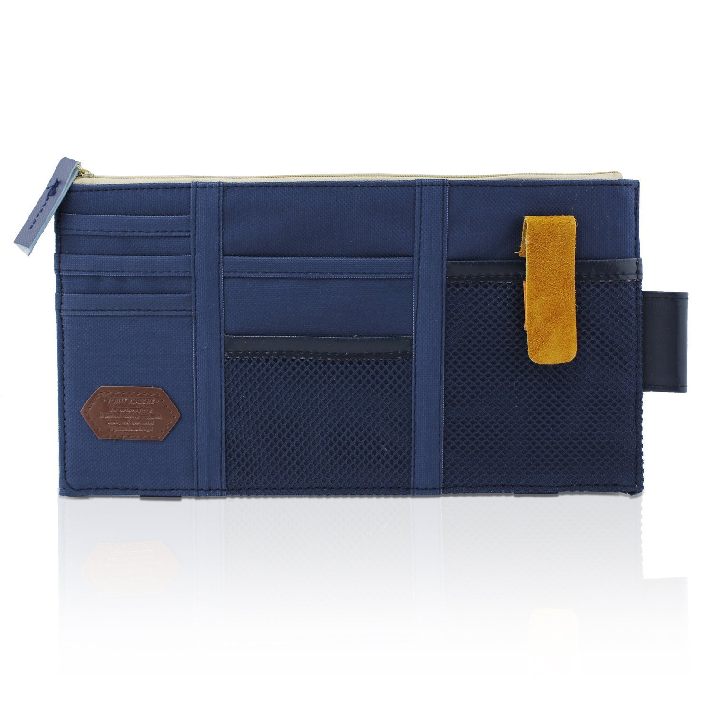 DarkBlue Canvas Multi-function Car Space Sun Visor Organizer Card Phone Storage Pouch Bag Holder by ICEBLUEOR Auto Car Visor Organizer