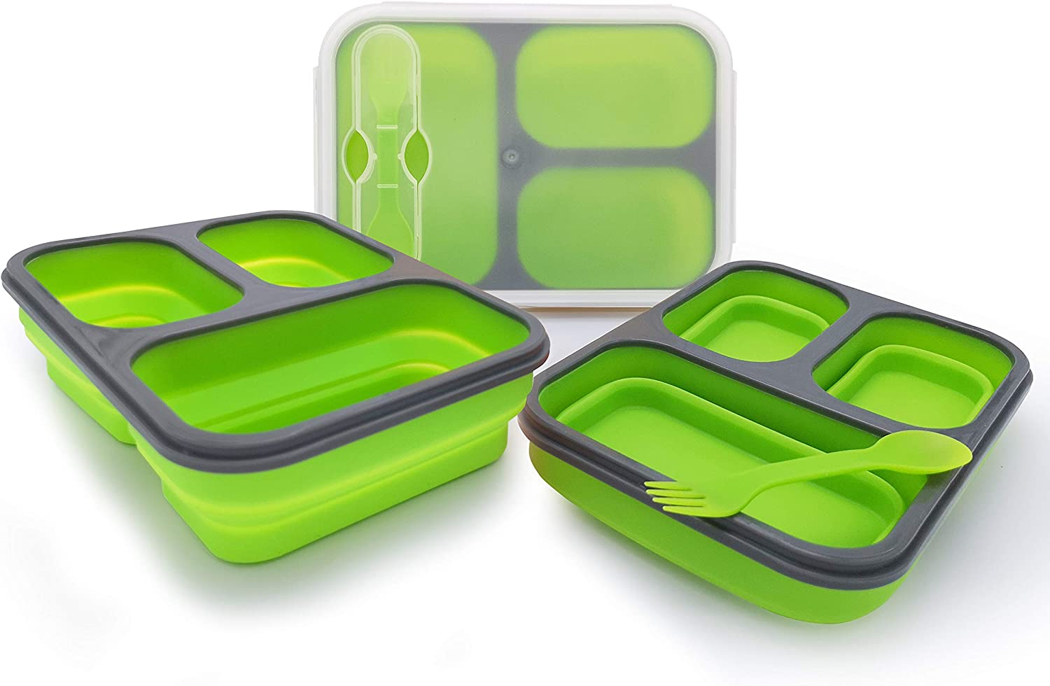 Exclusivo Bolsillo Bento Lunch Box for Women Men & Kids With Spoon & Fork,BPA Free,Collapsible and Leakproof Food Grade Silicone Food Storage Containers with 3 Compartments (Green,One Container)