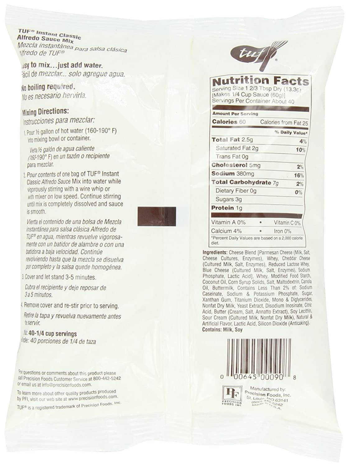 Amazon.com : Total Ultimate Foods Alfredo Sauce Mix, 19-Ounce Units (Pack of 4) : Grocery & Gourmet Food