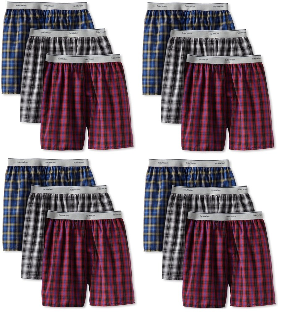 Fruit of the Loom 12Pack Boys Exposed-Waistband Boxers Boxer Shorts Underwear M