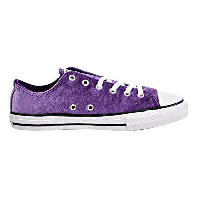 Converse All Star Velvet Ox Girls Preschool Basketball Shoes 658211F, Night Purplewhitewhite