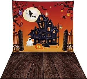 Allenjoy 8x10ft Halloween Moonlight Castle Backdrop for Photography Van Winkle Pumpkin Wizard Background for Boys Girls Children Birthday Party Trick or Treat Newborn Baby Shower Banner Home Decors