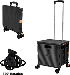 Quick Utility Cart Folding Portable Rolling Crate Handcart with Durable Heavy Duty Plastic Telescoping Handle Collapsible 4 Rotate Wheels for Travel Shopping Moving Luggage Office Use (Black)