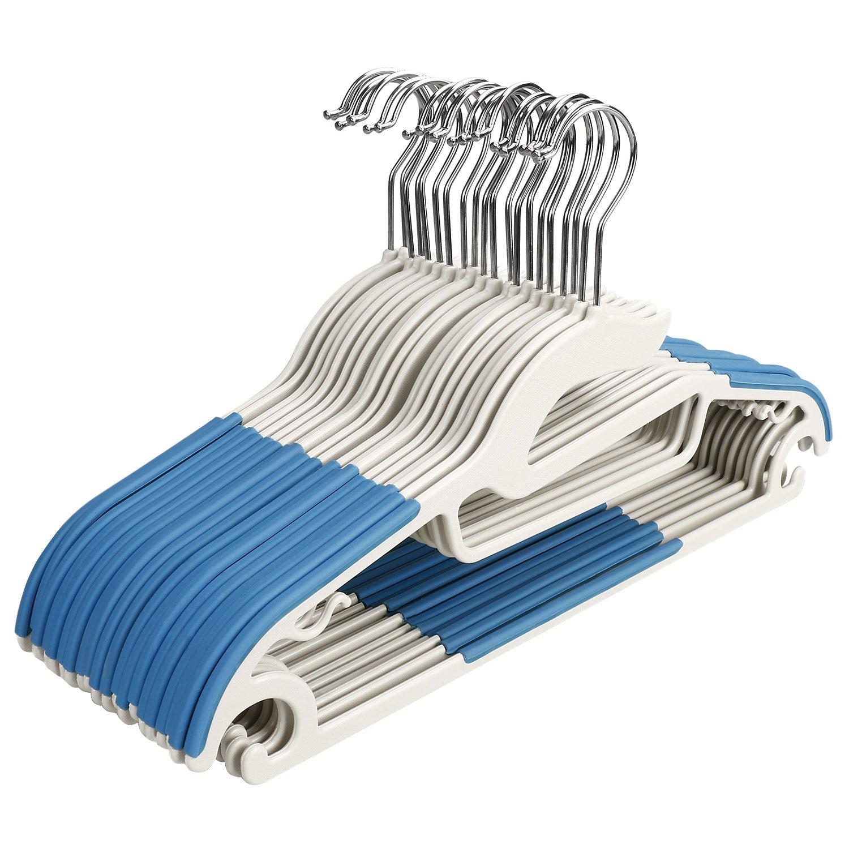 FastDirect Cintres Lot DE 20 Anti-glissants en Plastique Multiusages Multicouleur Cintre Manteau Cintre Veste Cintre Costume (Bleu)(Expédié de l'Allemagne)
