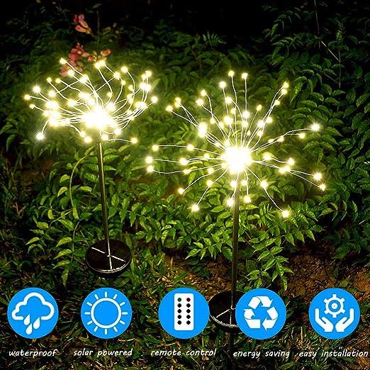 Luces de fuegos artificiales de jardín, luz decorativa solar del paisaje para la decoración de la fiesta de Navidad del patio trasero de la calzada (blanco cálido, paquete de 2): Amazon.es: Iluminación