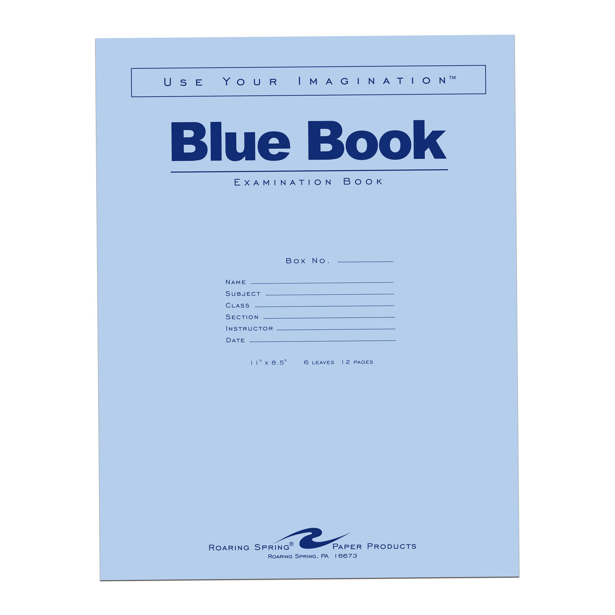 Roaring Spring Blue Exam Book, 11'' x 8.5'', 6 sheets/12 pages